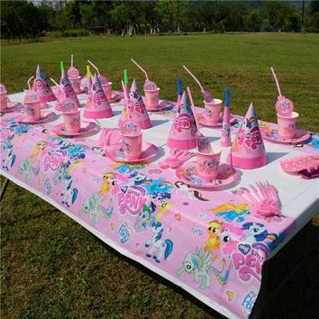 145pc/lot 10 kids minion my little pony Party Set Tableware Plate Napkins flag Happy Birthday Forks Baby Shower Party Decoration