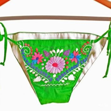 Jade Green Mexican embroidered bikini bohemian by AidaCoronado
