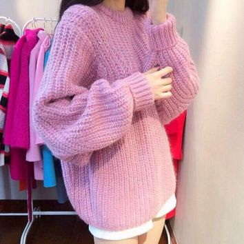 2015 Pullovers coarse knit loose ladies crewneck turtleneck sweater coat thickened dolman sleeve new arrival promotion sale