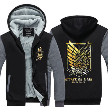 2016 New  Attack on Titan  Winter Jackets hoodie Anime Luminous Hooded Thick Zipper Men Sweatshirts USA EU size Plus size