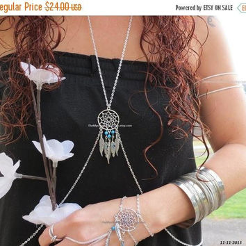 Silver Body Chain, Dream Catcher Jewelry, Belly Chain, Belly Dance, Belly Dancer, Festival Jewelry, Feather Jewelry, Feather Body Chain