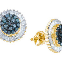 Blue Diamond Fashion Earrings in 10k Gold 1 ctw