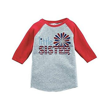 Custom Party Shop Girl's Little Sister 4th of July Raglan Tee