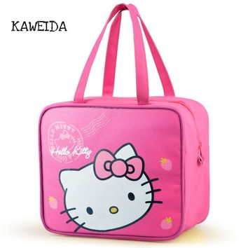 Hello Kitty Pink Insulated Lunch BAG for Kids Pink Tote Lunchbox Aluminum foil Heat Insulation Container box Canvas Cooler bags
