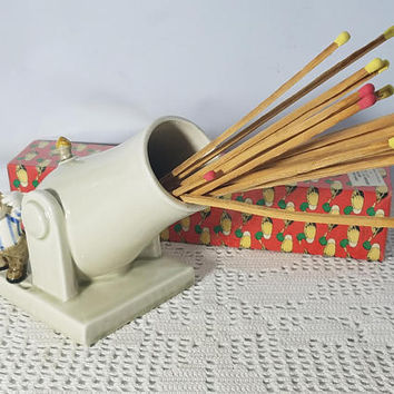 Vintage Fitz & Floyd Porcelain Fireplace Cannon Match Sticks Holder Decor With Sealed Box Of Vintage Fireplace Matches
