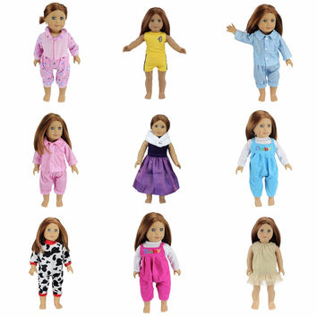 3pcs//set Girl Doll Clothes Dress Suit Set Top Skirt Coat for 18in Girls Dolls❤lo