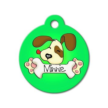Green Cute Puppy Licking Bone - Cute Pet Tag