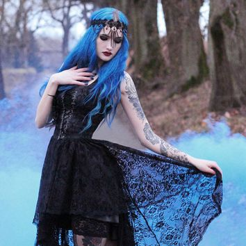 Black Lace Gothic Queen Style High-Low Dress - Devilnight.co.uk