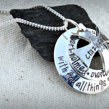 With God all things are possible layered silver necklace - handstamped maltese cross crazy faith