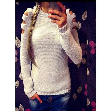 Sexy Hollow Long-Sleeved Sweater