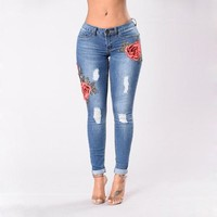 Skinny Embroidery Jeans