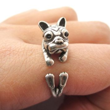 3D Puppy Dog Shaped Animal Wrap Ring in Silver - Sizes 6 to 9 from DOTOLY