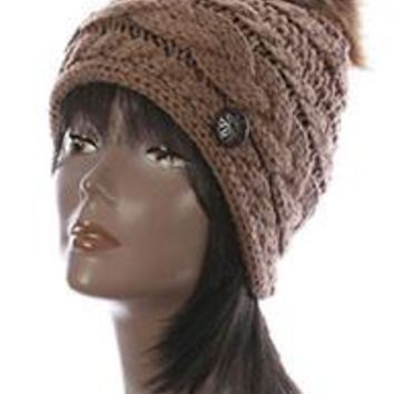 Light BROWN CABLE KNIT stylish Winter Beanie HAT  CAP w / Faux FUR Pom Pom
