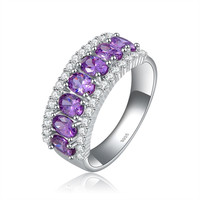 ORSA Famous Brand Ladies 925 Sterling Silver Amethyst Zircon Rings with Platinum Plated OR43