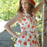 Red poppies playsuit, white 1950s swim dress swimsuit, bloomers set, M