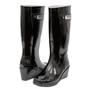 Women's & Ladie's Wedge Heel Rubber Rain Boots / Snow Boots (7, Shiny Black)