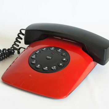 1980s Mod Grand Prix Red Phone, Telequest Racecar Inspired Telephone, Vintage Push Button Phone