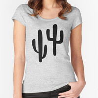 Cactus T-shirt - Cactus Fitted Scoop Neck Women's Tshirt