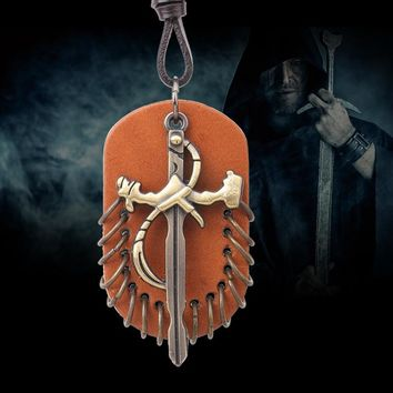Men necklace Game of Thrones Iron swords pendant necklace Genuine Leather choker  vintage collier fashion men jewelry QN8050
