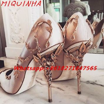 Ornate Filigree Leaf White Women Wedding Shoes Chic Satin Stiletto Heels Low-cut Vamp Pointed Toe Eden Heel Bridal Shoes Women