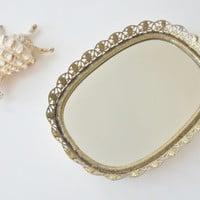 Vintage Mirrored Tray, Small Dresser Vanity Tray,Oval Gold Tone Ornate Filigree, Jewelry Coins Perfume Bottle Tray Holder, Romantic Decor