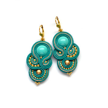 Soutache statement teal gold earrings orecchini embroidery Boucles d'oreilles pendientes beaded bijoux indian jewelry bride wedding india