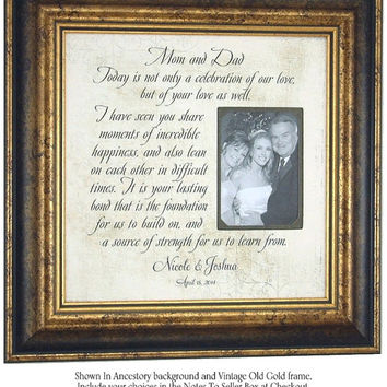 Personalized Picture Frame, Mother of The Bride Gift, Parents Wedding Gift, MOM & DAD, Reception, Father of the Bride, 16 X 16