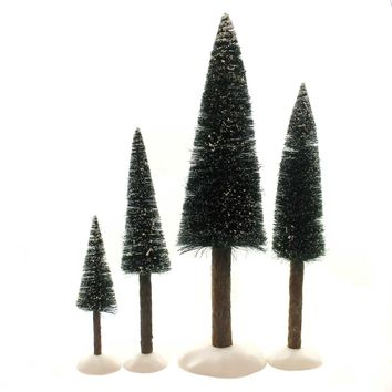 Department 56 Accessory FROSTED FIR TREES SET / 4 Retired Village 52605