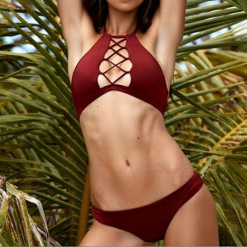 Sexy style bikini Solid color wine red high neck chest cross bathing suit Female two piece bikini