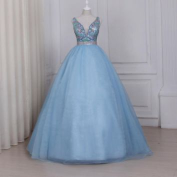 Light Blue V-neck Prom Dresses Sparkling Colorful Beaded Sequins Ball Gown Elegant Evening Party Dress Floor Length