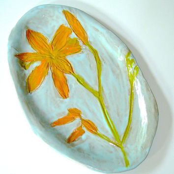 Ceramic Serving Platter with Day Lily Design