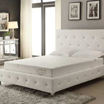 White Crystal Tufted Storage Bench