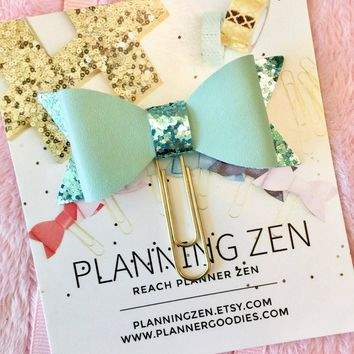 Bow Planner Clip Mint with Glitter Faux Leather