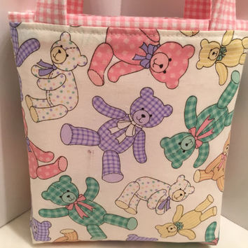 Teddy Bears, Easter Basket, Toddler Tote Bag, Easter Egg Tote, Children, Candy, Holidays, Birthday, Gift Wrap, Spring Gift Bag, Baby Shower