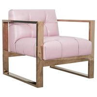 Geometric Occasional Chair in Blush Pink Faux Leather with Rose Gold Frame