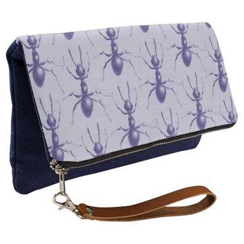 Drawn Purple Ant Pattern Clutch