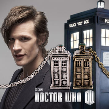 Fashion Doctor Who Necklace Police Box Sweater Chain Hottest New Pendent