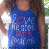 CUSTOM Love Me Some Football Racer Back Flowy Tank w/ Rhinestones - Your team and colors!!