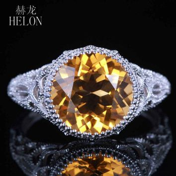 HELON Classical simple Vintage Art Deco 925 sterling silver 100% Genuine Citrine ring Engagement Wedding lady party jewelry Ring