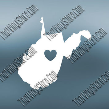 West Virginia Heart Home Decal | I Love West Virginia Decal | Homestate Decals | Love Sticker | Love Decal  | Car Decal | Car Sticker| 507
