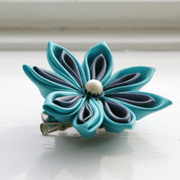 Turquoise Flower Hair Clip Brooch Hair Flower by cuttlefishlove