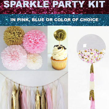 Sparkle Baby Shower Party Kit tissue tassel garland, tissue paper poms, 36 inch balloon, and cupcake cake toppers all in one!