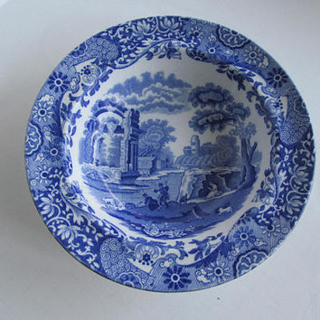 Rare Copeland Spode Italian Transferware Bowl  Blue Transferware  Collectible English China Plates    Blue Transferware Spode's