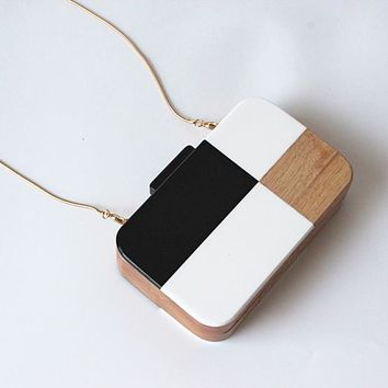 Colorblock Wooden Clutch