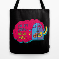 good bye 2014 hello 2015 Tote Bag by PINT GRAPHICS