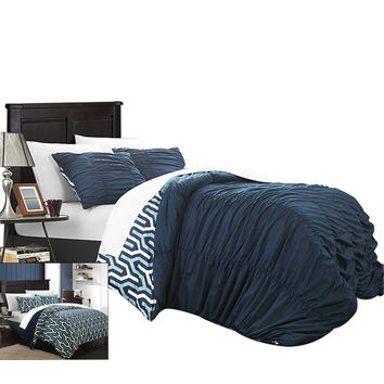 Emelia Elissa Pleated Reversible 3 Piece Duvet Cover Set King & Queen Navy