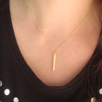 Simple 14 kt Gold-Filled Bar Drop Necklace, Simple Bar Layering Necklace, Spike Necklace, Celebrity Style Jewelry, Vertical Bar Necklace