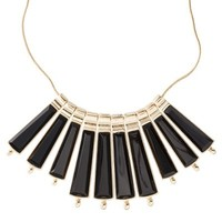 Fashion Statement Necklace with Long Dangles - Gold/Black