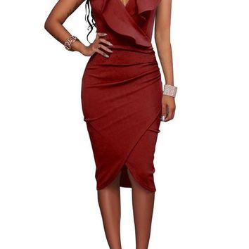 Burgundy Ruffle Pleated Deep V Sleeveless Bodycon Prom Evening Party Midi Dress