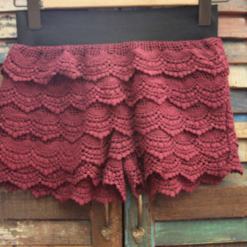 Maroon Crochet Shorts! | Bellum&Rogue
